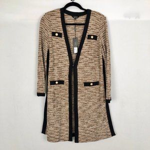 Misook Brown Knit Long Cardigan Sweater Size Med